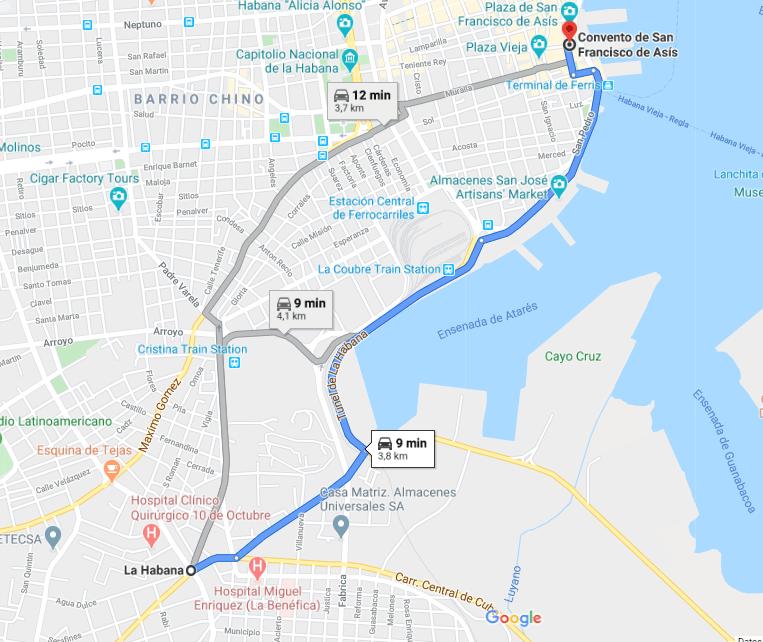 Cómo llegar al Convento de San Francisco de Asís, Cuba