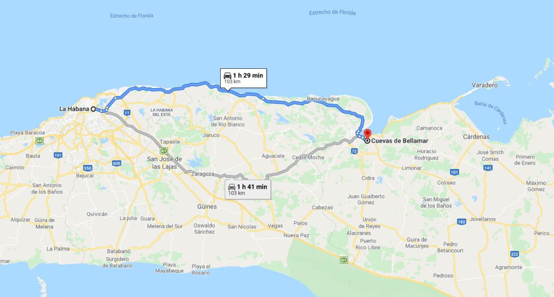 Cómo llegar a las Cuevas de Bellamar, Cuba