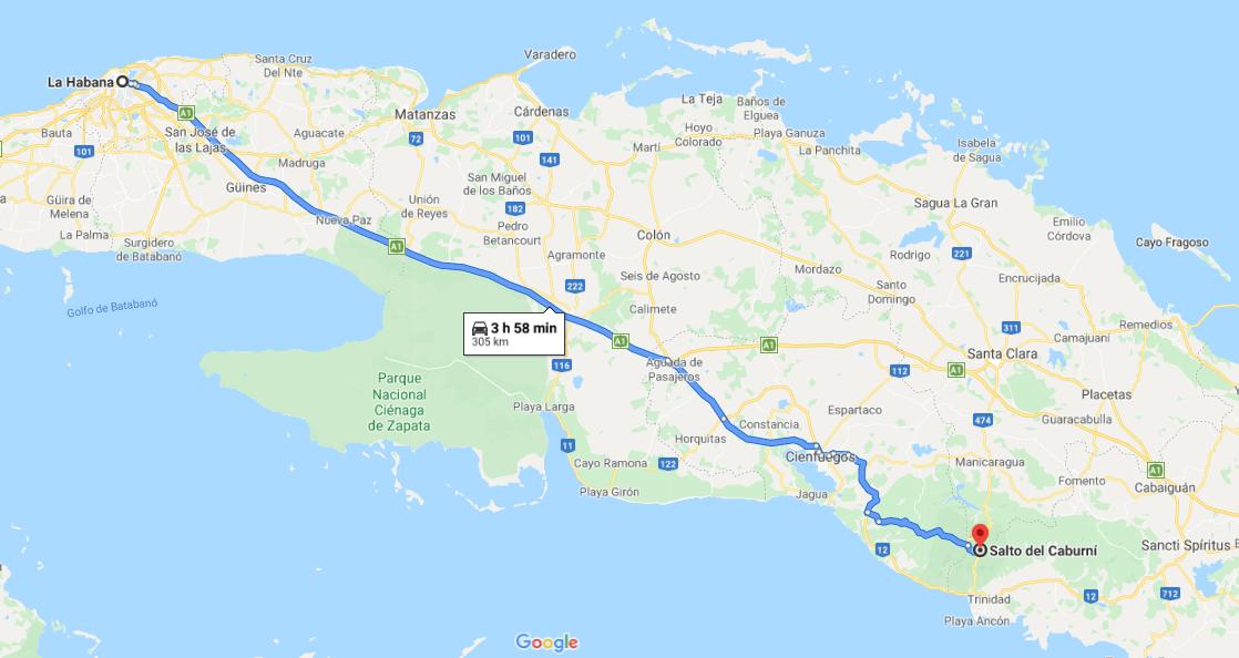 Cómo llegar al Salto de Carburní, Cuba