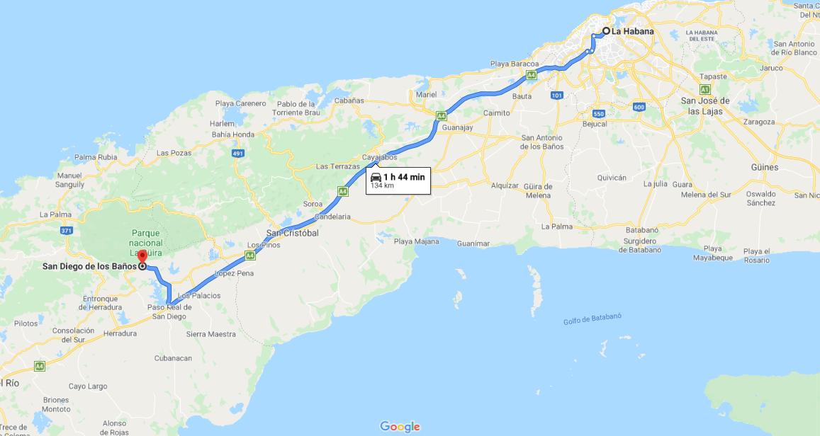 Cómo llegar a San Diego de Los Baños