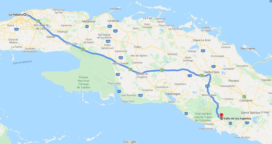Cómo llegar al Valle de Los ingenios o Valle San Luis, Cuba